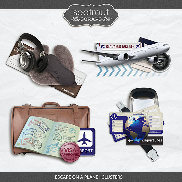 Escape on a Plane Clusters Digital Art - Digital Scrapbooking Kits
