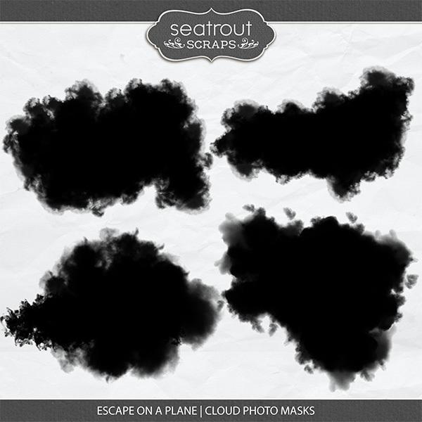Escape on a Plane Cloud Photo Masks Digital Art - Digital Scrapbooking Kits