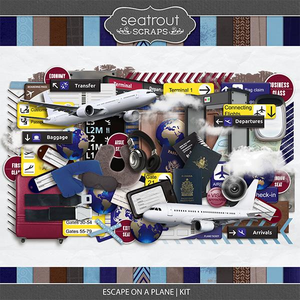 Escape on a Plane Kit Digital Art - Digital Scrapbooking Kits