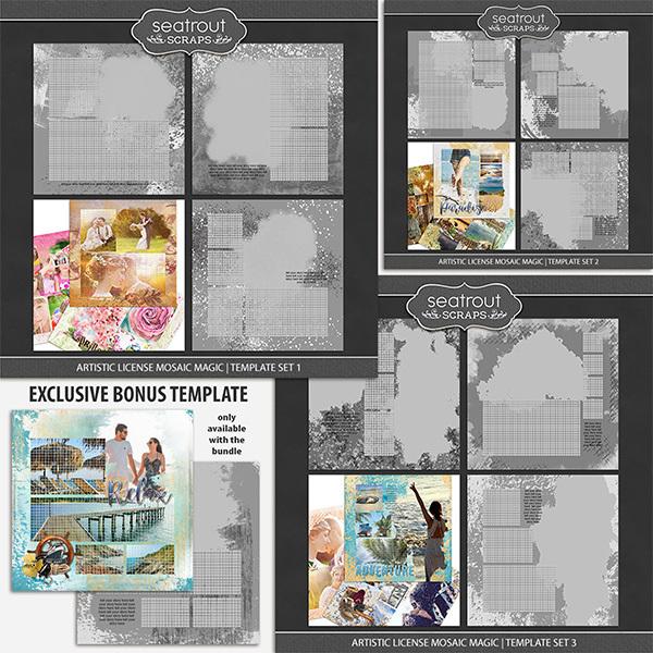 Artistic License Mosaic Magic Bonus Bundle 1 - 12x12 Digital Art - Digital Scrapbooking Kits