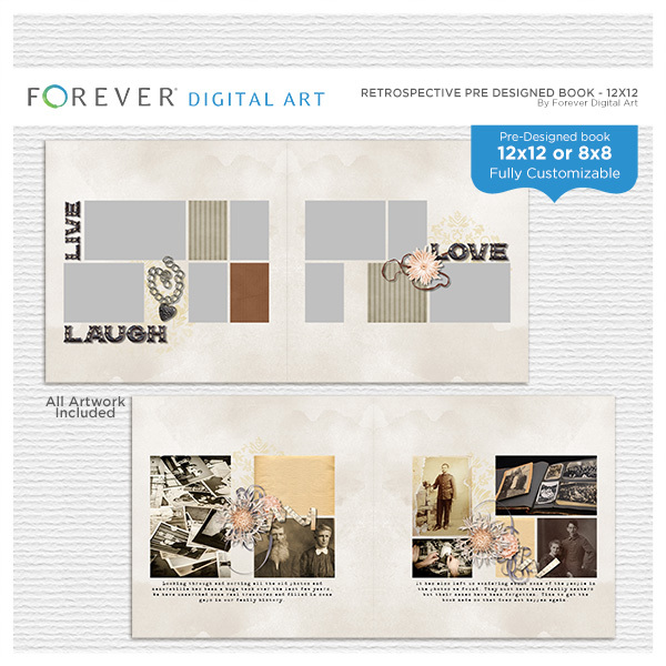 Retrospective Pre Designed Book 12x12 Digital Art - Digital Scrapbooking Kits