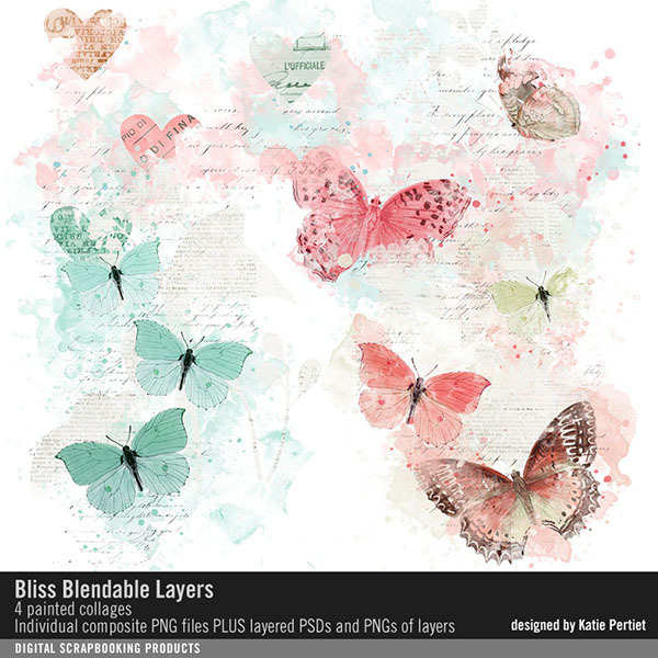 Bliss Blendable Layers Digital Art - Digital Scrapbooking Kits