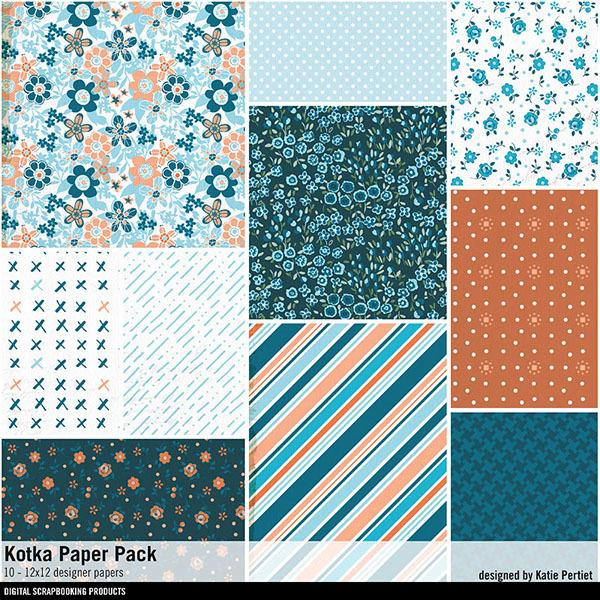 Kotka Paper Pack Digital Art - Digital Scrapbooking Kits