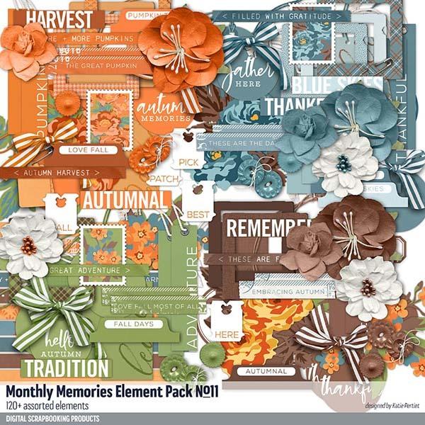 Monthly Memories Element Pack No. 11 Digital Art - Digital Scrapbooking Kits