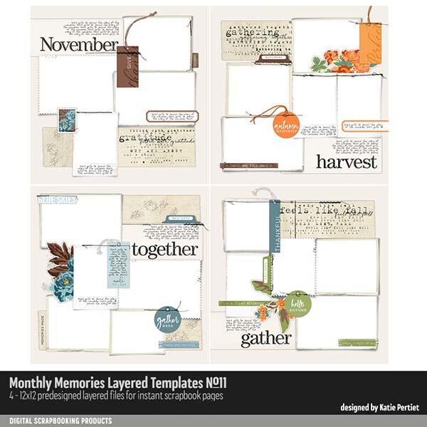 Monthly Memories Layered Template Pack No. 11 Digital Art - Digital Scrapbooking Kits