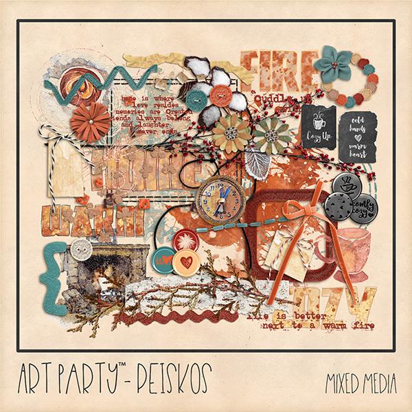 Peiskos Mixed Media Embellishments Digital Art - Digital Scrapbooking Kits