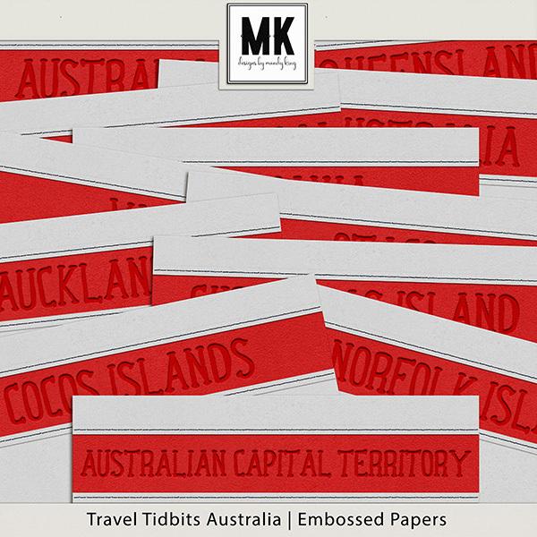 Travel Tidbits Australia - Embossed Papers Digital Art - Digital Scrapbooking Kits