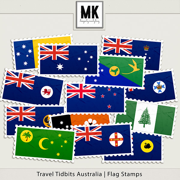 Travel Tidbits Australia - Flag Stamps Digital Art - Digital Scrapbooking Kits