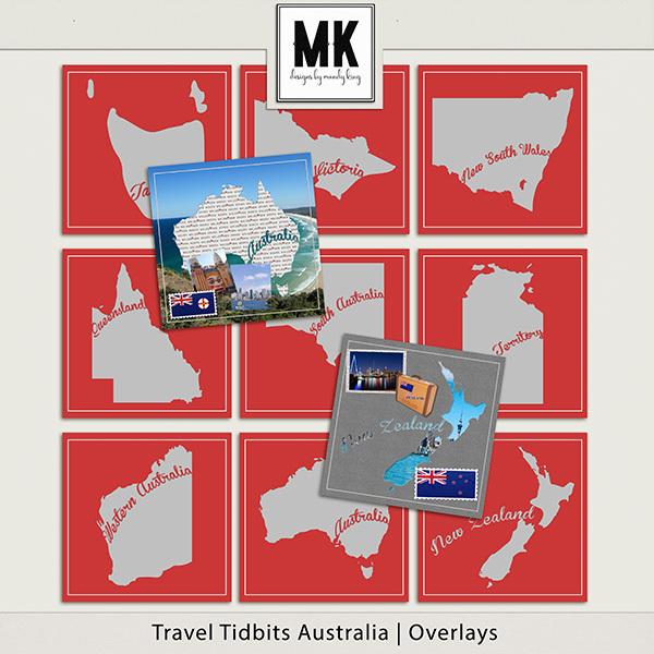 Travel Tidbits Australia - Overlays Digital Art - Digital Scrapbooking Kits