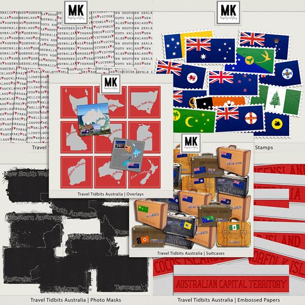 Travel Tidbits Australia - Bundle Digital Art - Digital Scrapbooking Kits