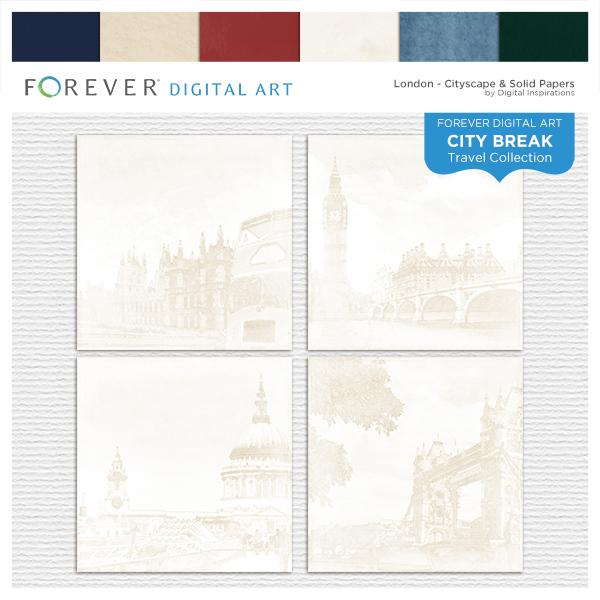 City Break - London -  Cityscape & Solid Papers Digital Art - Digital Scrapbooking Kits