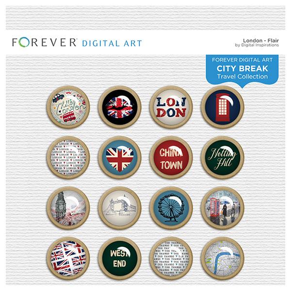 City Break - London -  Flair Digital Art - Digital Scrapbooking Kits