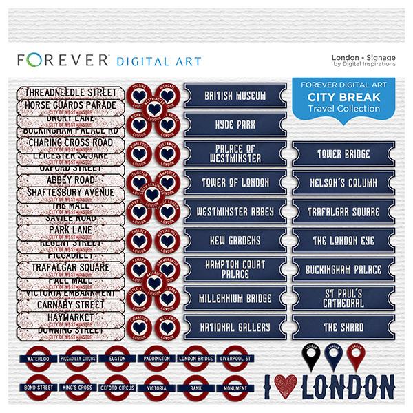 City Break - London -  Signage Digital Art - Digital Scrapbooking Kits