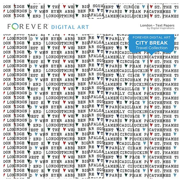 City Break - London -  Text Papers Digital Art - Digital Scrapbooking Kits