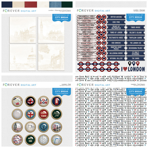 City Break - London - Bundle Digital Art - Digital Scrapbooking Kits