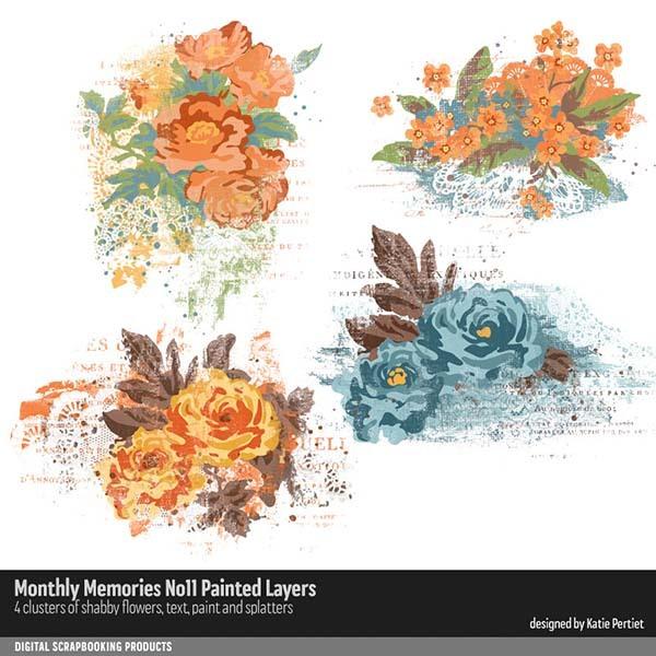 Monthly Memories No. 11 Painted Layers Digital Art - Digital Scrapbooking Kits