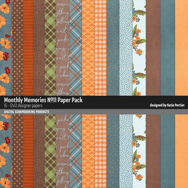 Monthly Memories Paper Pack No. 11 Digital Art - Digital Scrapbooking Kits