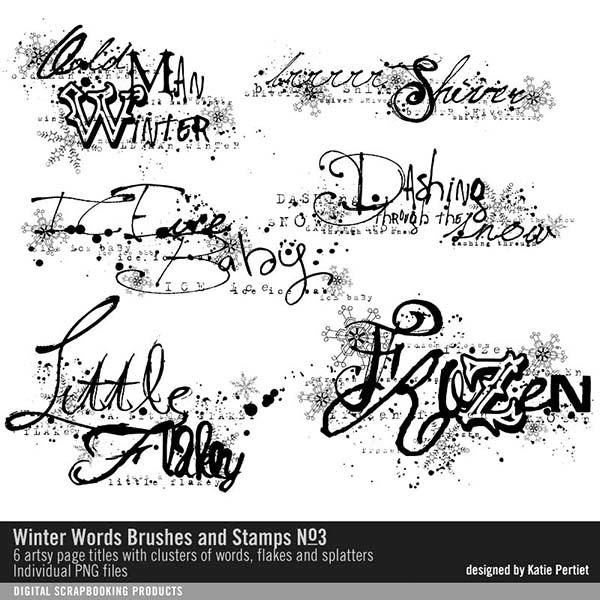 Winter Words Brushes and Stamps No. 03 Digital Art - Digital Scrapbooking Kits