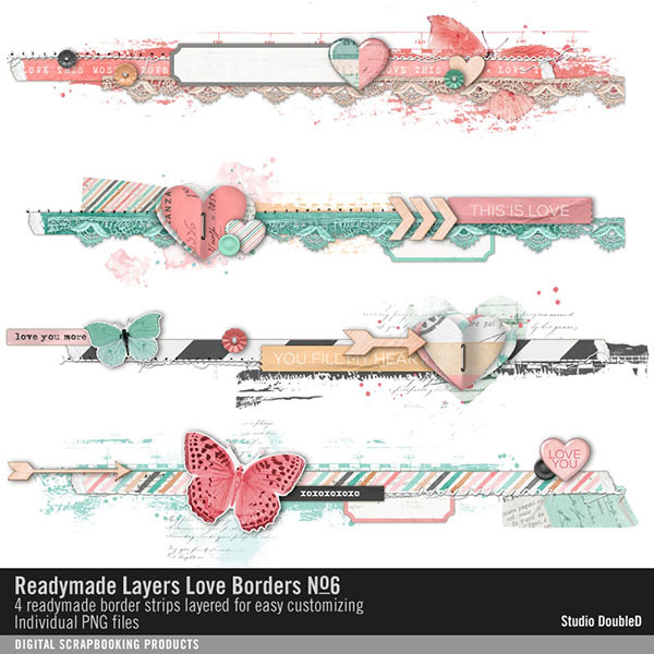 Readymade Layers Love Borders No. 06 Digital Art - Digital Scrapbooking Kits