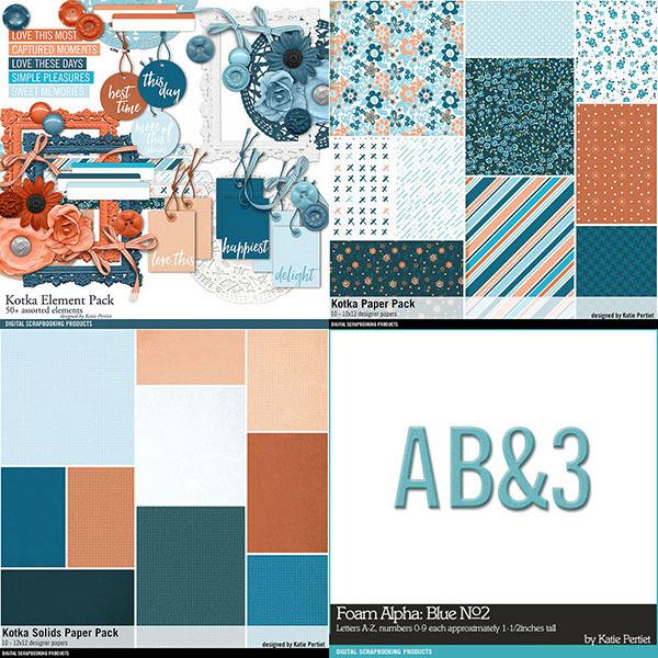 Kotka Scrapbooking Bundle Digital Art - Digital Scrapbooking Kits