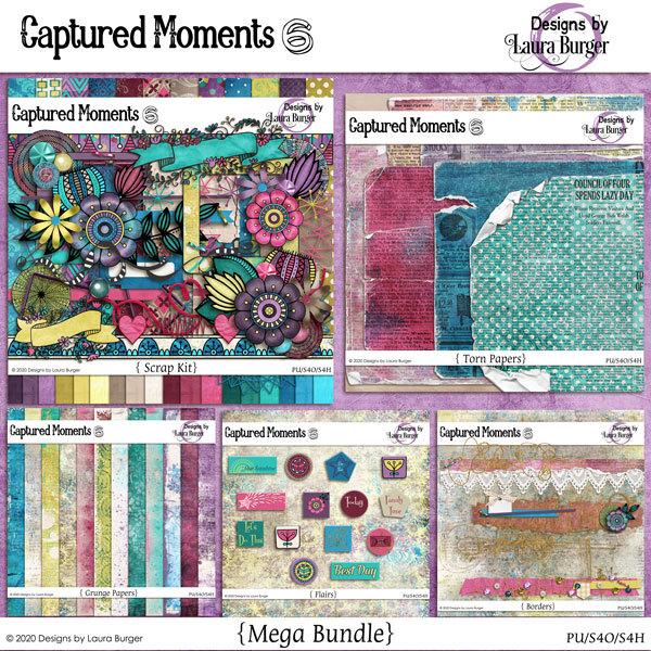 Captured Moments 6 Bundle Digital Art - Digital Scrapbooking Kits