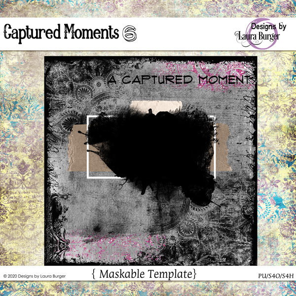 Captured Moments 6 Template Digital Art - Digital Scrapbooking Kits