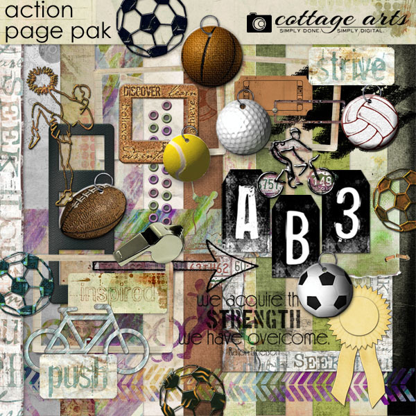 Action Page Pak Digital Art - Digital Scrapbooking Kits