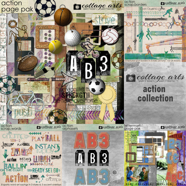 Action Collection Digital Art - Digital Scrapbooking Kits