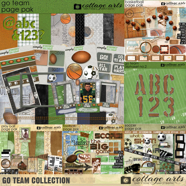 Go Team Collection Digital Art - Digital Scrapbooking Kits