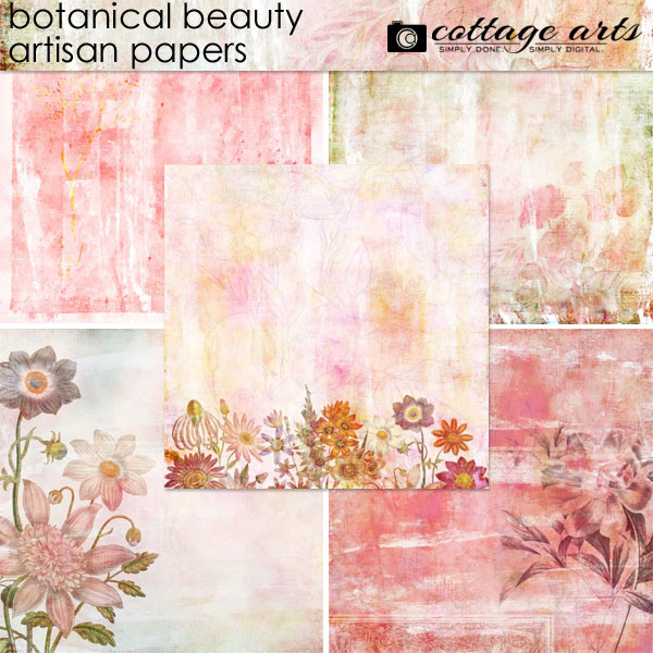 Botanical Beauty Artisan Papers Digital Art - Digital Scrapbooking Kits