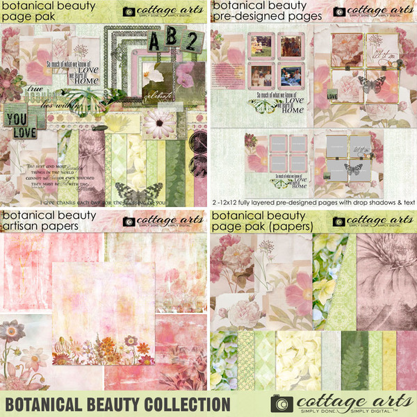 Botanical Beauty Collection Digital Art - Digital Scrapbooking Kits