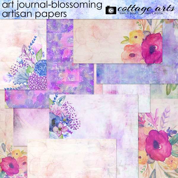 Art Journal - Blossoming Artisan Papers Digital Art - Digital Scrapbooking Kits