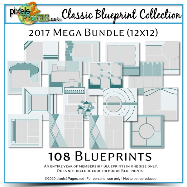 Classic Blueprint Collection  2017 - Mega Bundle (12x12) Digital Art - Digital Scrapbooking Kits