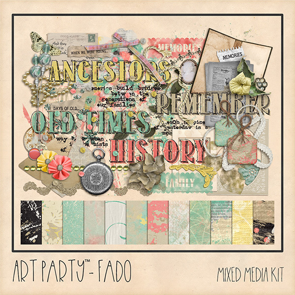 Fado Mixed Media Kit Digital Art - Digital Scrapbooking Kits