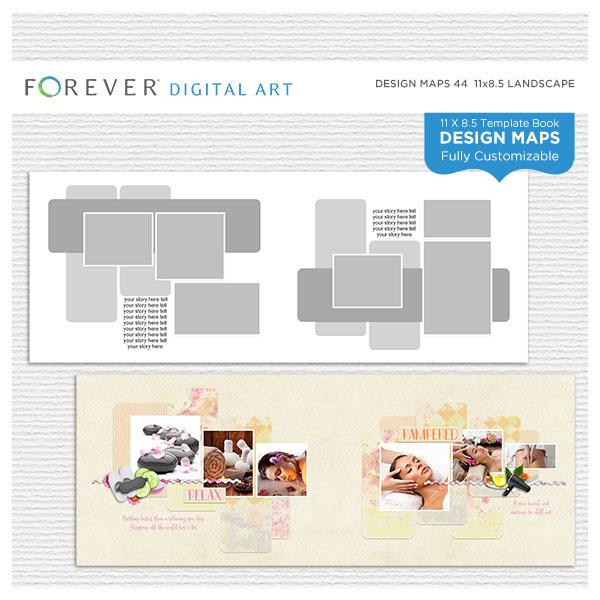 Forever Design Maps 44 - 11x8.5 Digital Art - Digital Scrapbooking Kits