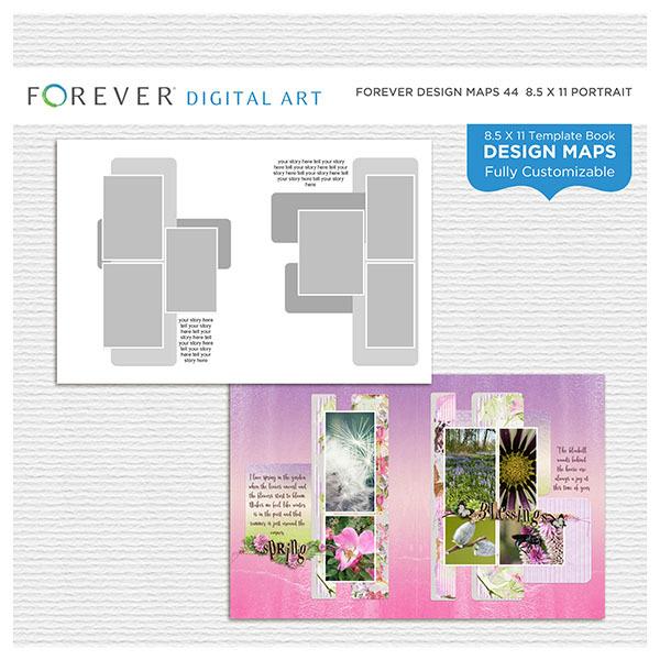 Forever Design Maps 44 - 8.5x11 Digital Art - Digital Scrapbooking Kits