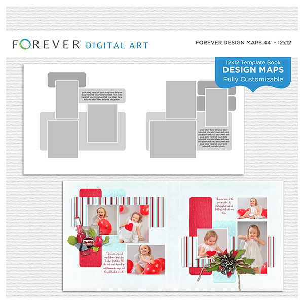 Forever Design Maps 44 - 12x12 Digital Art - Digital Scrapbooking Kits