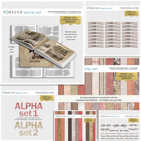 February Collector's Edition 11x8.5 Digital Art - Digital Scrapbooking Kits