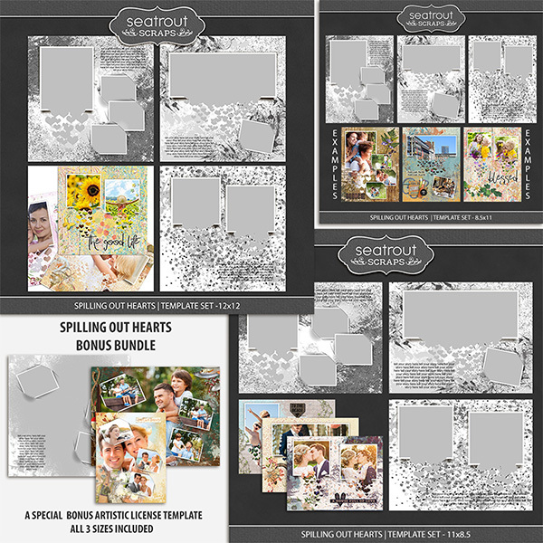 Spilling Out Hearts Bonus Bundle Digital Art - Digital Scrapbooking Kits