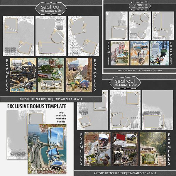 Artistic License Rip It Up - Bonus Bundle 1 - 8.5x11 Digital Art - Digital Scrapbooking Kits