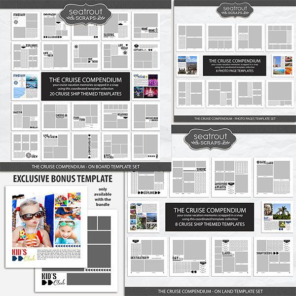 The Cruise Compendium Bonus Bundle - 12x12 Digital Art - Digital Scrapbooking Kits