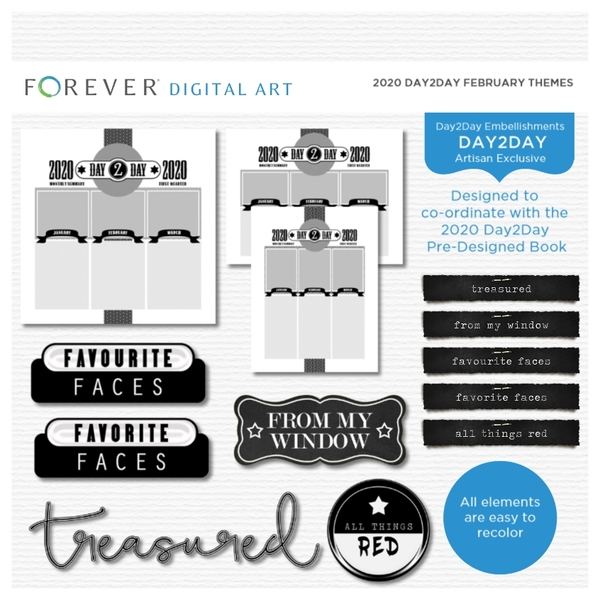 2020 Day2Day February Themes Digital Art - Digital Scrapbooking Kits