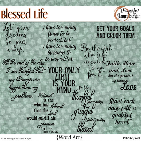 Blessed Life Word Art Digital Art - Digital Scrapbooking Kits