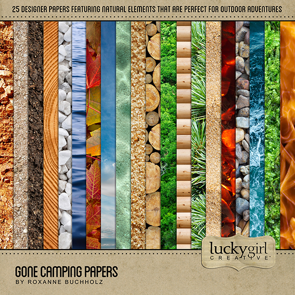 Gone Camping Papers Digital Art - Digital Scrapbooking Kits