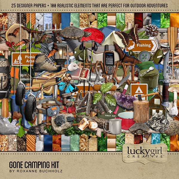 Gone Camping Kit Digital Art - Digital Scrapbooking Kits