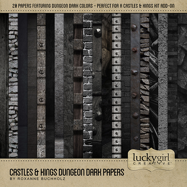 Castles & Kings Dungeon Dark Papers Digital Art - Digital Scrapbooking Kits