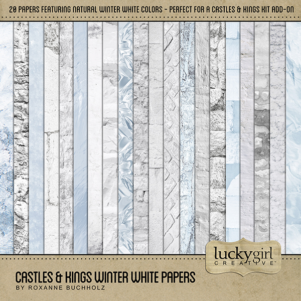 Castles & Kings Winter White Papers Digital Art - Digital Scrapbooking Kits
