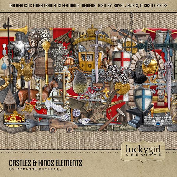 Castles & Kings Elements Digital Art - Digital Scrapbooking Kits