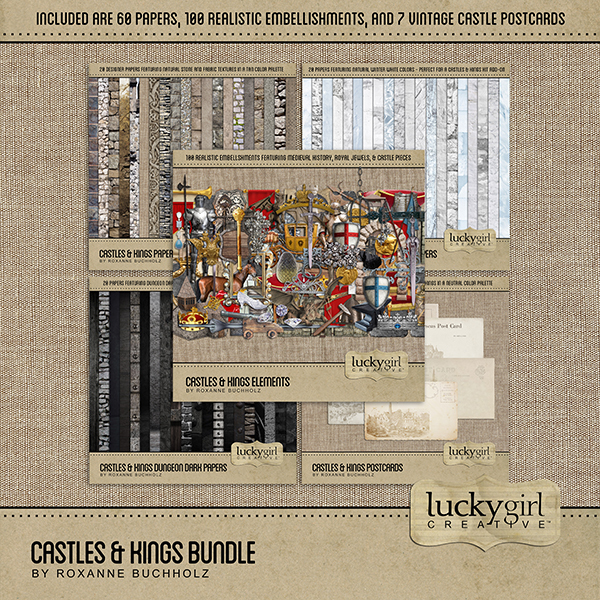 Castles & Kings Bundle Digital Art - Digital Scrapbooking Kits