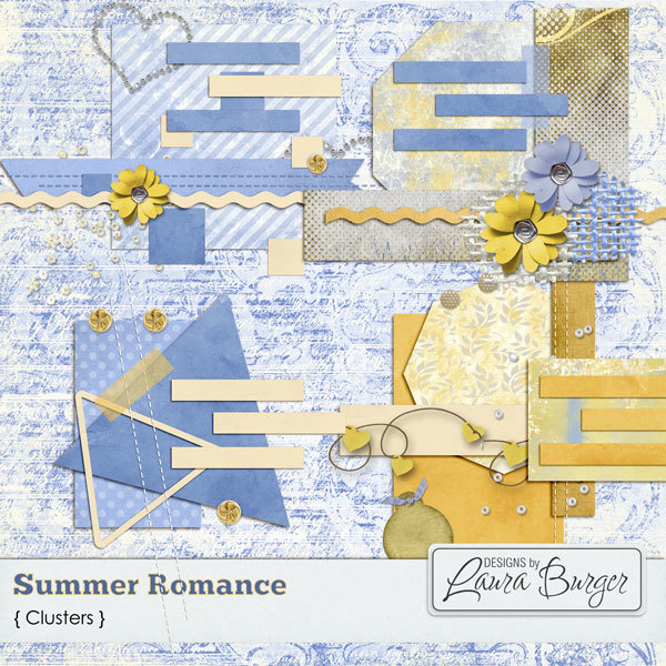 Summer Romance  Clusters Digital Art - Digital Scrapbooking Kits